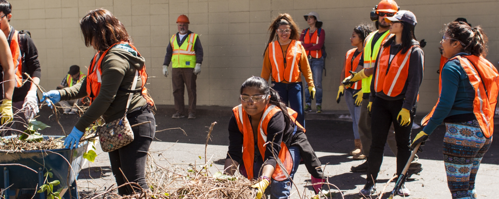 volunteers helping to landscape near a school