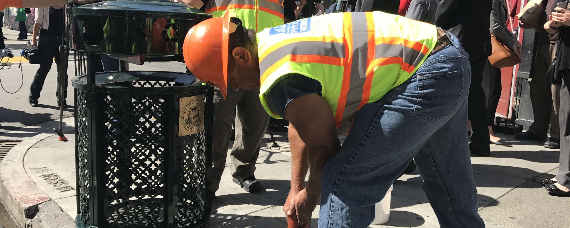Public Works Staff cleaning up litter